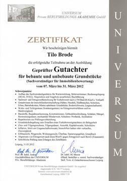 Zertifikat Gutachter Brode